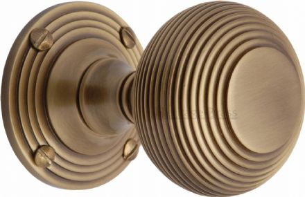 M Marcus Heritage Brass V971-AT Reeded Mortice Knob On Rose Antique Brass